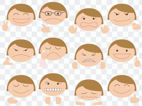 Various facial expressions / face + hands [Bob Hair]