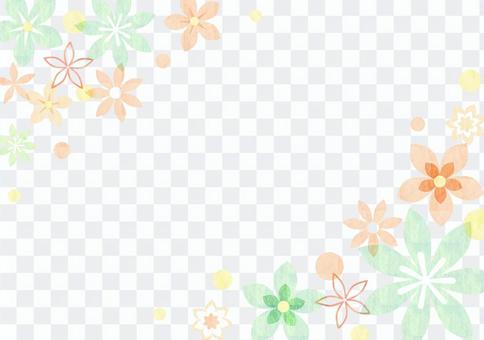 花_绿色_粉彩_框架