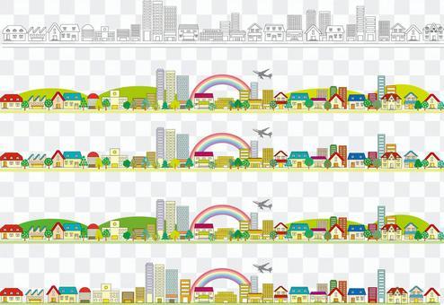 城市景觀徒步旅行飛機彩虹路市區插畫圖片