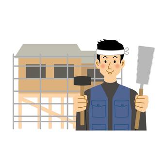 建造中的房子和木匠人