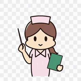 指向標尺的女性護士