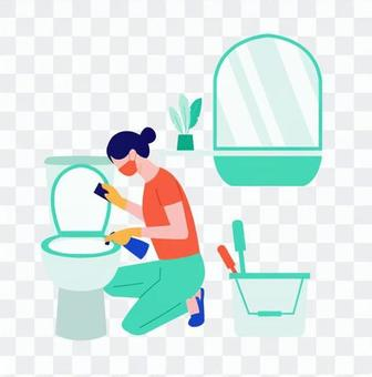 清洗廁所的女人