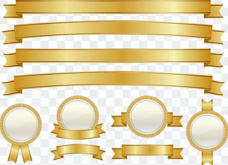 丝带和勋章集黄金01