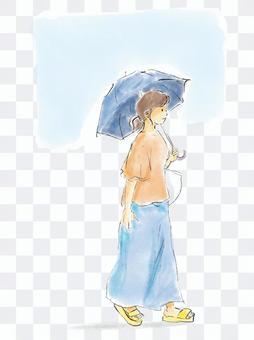 帶遮陽傘的女人