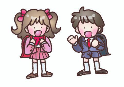 入學儀式的男孩和女孩