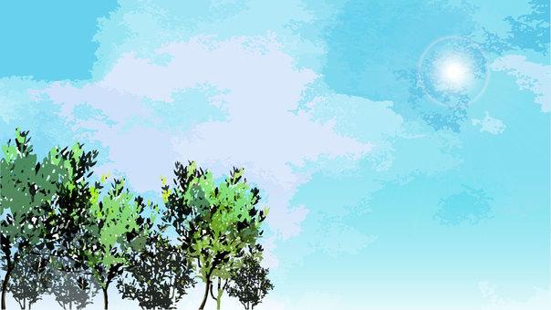 Illustration of blue sky and roadside trees