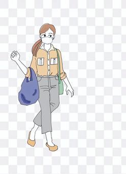 戴著口罩購物女士環保袋