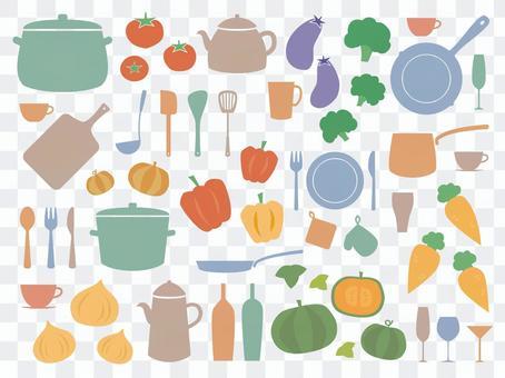 蔬菜和廚房工具