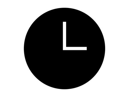 Simple clock icon: Black: No scale