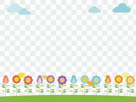 五顏六色的花裝飾框架2