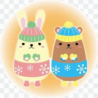 有一隻兔子和一隻熊