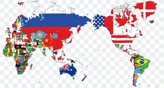世界地圖與國旗全球地圖