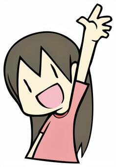 舉手的女孩