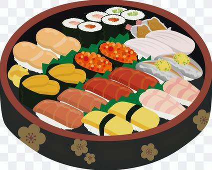 寿司桶に盛られた寿司