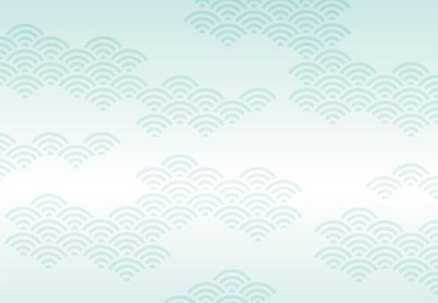 夏日清涼日式花紋背景素材(青海浪)
