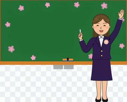 黑板和老師春天