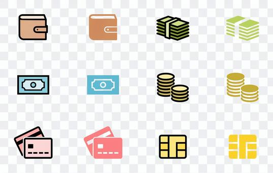 錢包,錢,信用卡等圖標