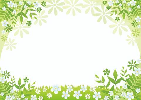 花的綠色框架背景