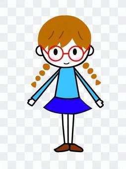 一個戴著眼鏡的女孩的插圖