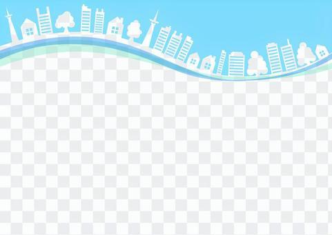 城市框架冬天藍色