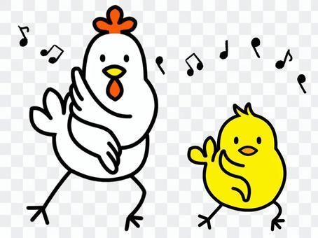 雞和小雞(兩個)版本3