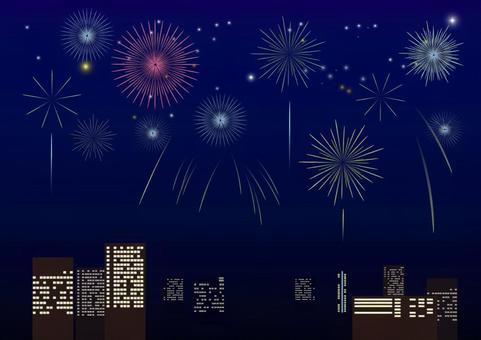 Skyscraper and fireworks 1