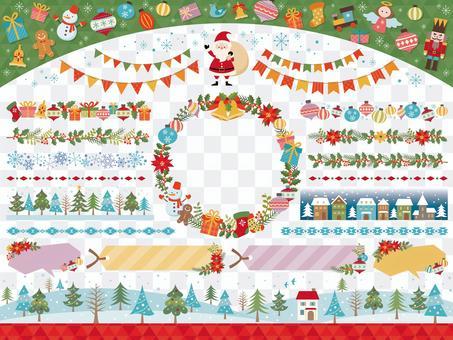 クリスマスの飾り罫のセット