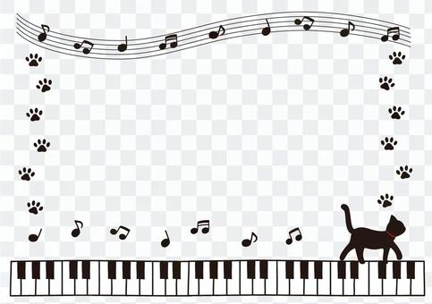 彈鋼琴的黑貓框架