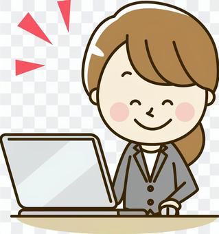 Female employee of a suit 2-16 Personal computer