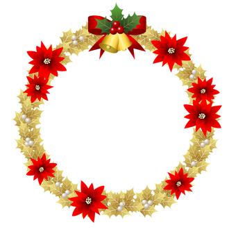 金色冬青和一品紅聖誕花環
