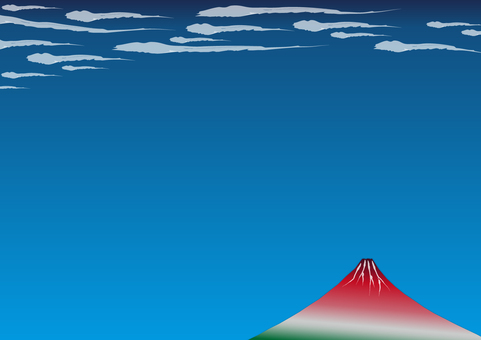 3張(浮世繪風格,紅色富士,飄動的雲朵)