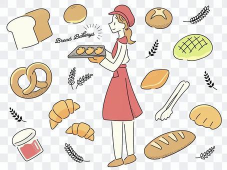 麵包店的插圖集