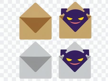 打開信封和病毒消息
