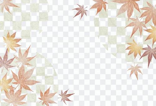 水彩風紅葉と市松模様の喪中はがき明