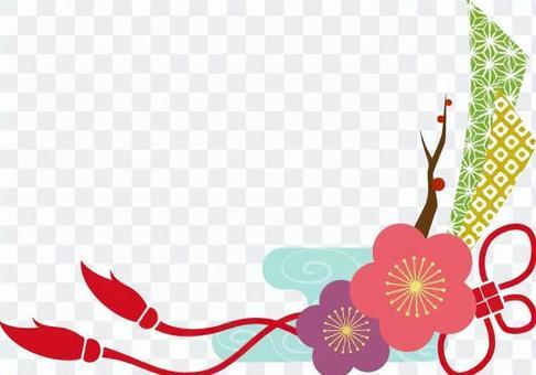 Plum Japanese pattern frame _ colorful