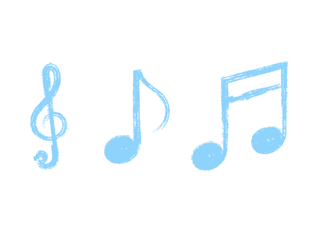 Handwritten treble clef & note set: brush x light blue
