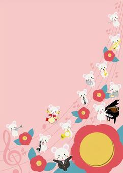 復古兒童新年賀卡演唱會框架