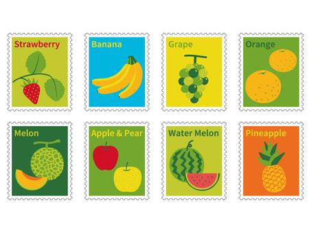 可愛的水果郵票風格插圖