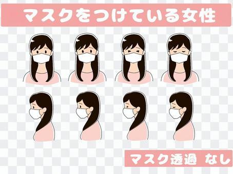 マスクをつけている女性 透過なし