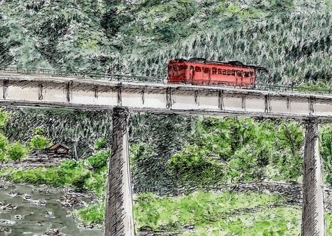在高架橋上行駛的柴油車