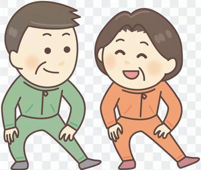 準備體操_ 02的中年男人和婦女
