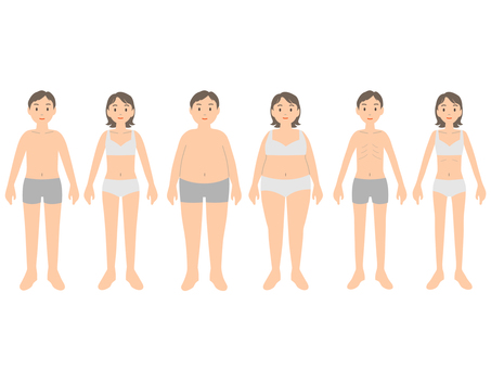 Illustrations of men and women by body type