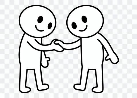 Stick man - shaking hands