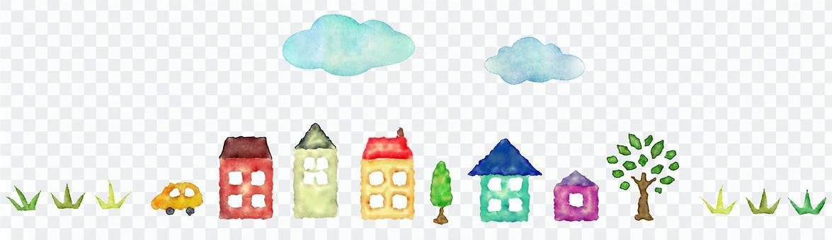 長長的藍天和房子和草地,水彩的規則