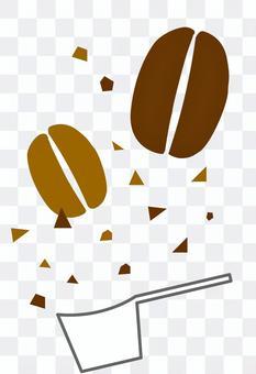 咖啡豆,麵粉和量匙