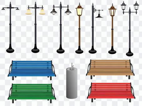 Street lights and benches