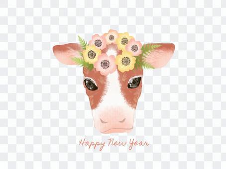 新年賀卡牛的插圖