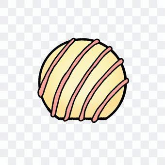 球体のホワイトチョコ(輪郭線あり)