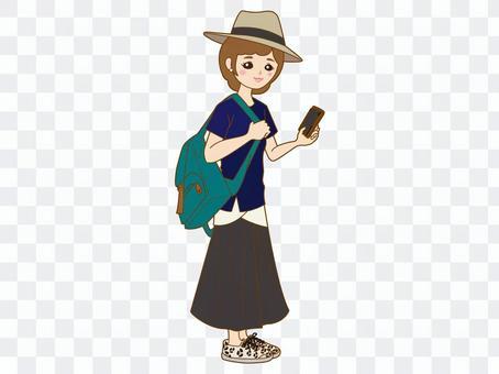 一個智能手機的女孩