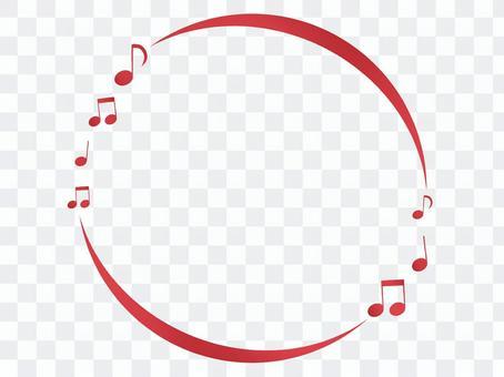 Round frame of glitter red om
